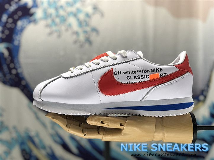 best sneakers c2550 4b25b 2018 Newest Original OFF White X Nike Cortez Mens Running Shoes White Red  Blue nikecortez2017.com