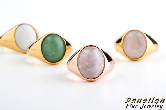 Custom Signet Ring Gemstone Natural Stone Sovereign Mens Danelian Jewelry Goldsmith Made Pinterest Moonstones