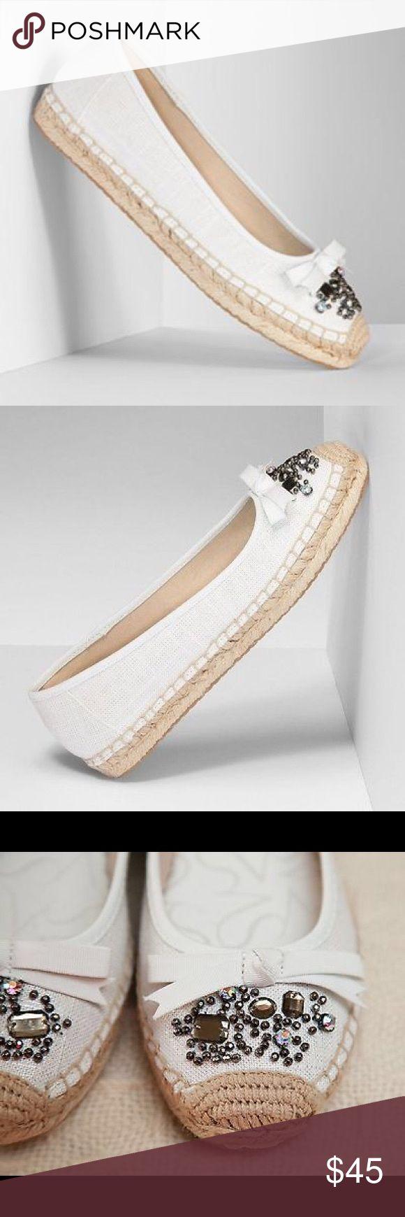 Vera Wang White Jeweled Espadrille Shoes Vera Wang white iridescent w/pewter jeweled stone espadrille shoes will have you looking fab! Vera Wang Shoes Espadrilles