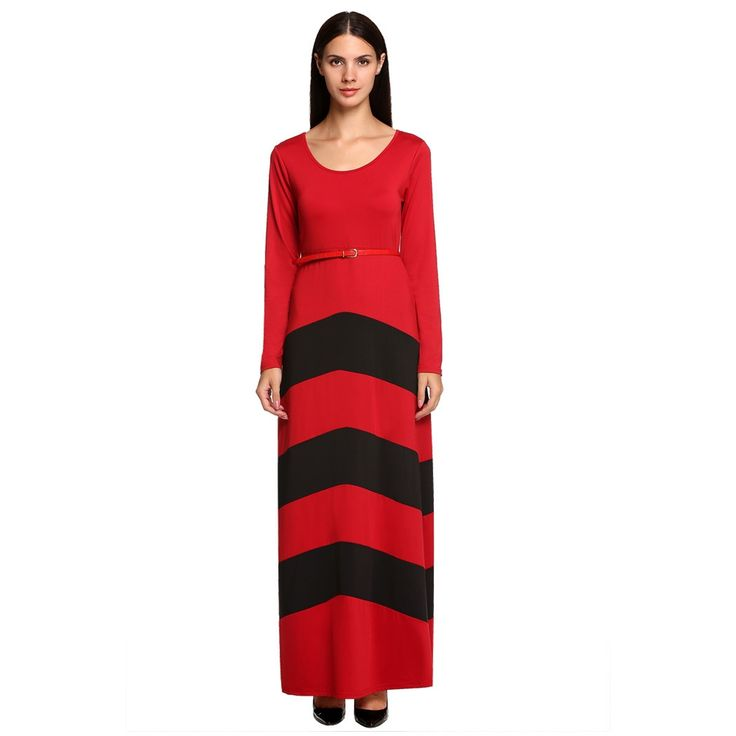 Elegant Stylish Ladies Women Long Sleeve High Waist Stripe Full Length Party Evening Jumpsuits amp; Rompers Casual Dresses
