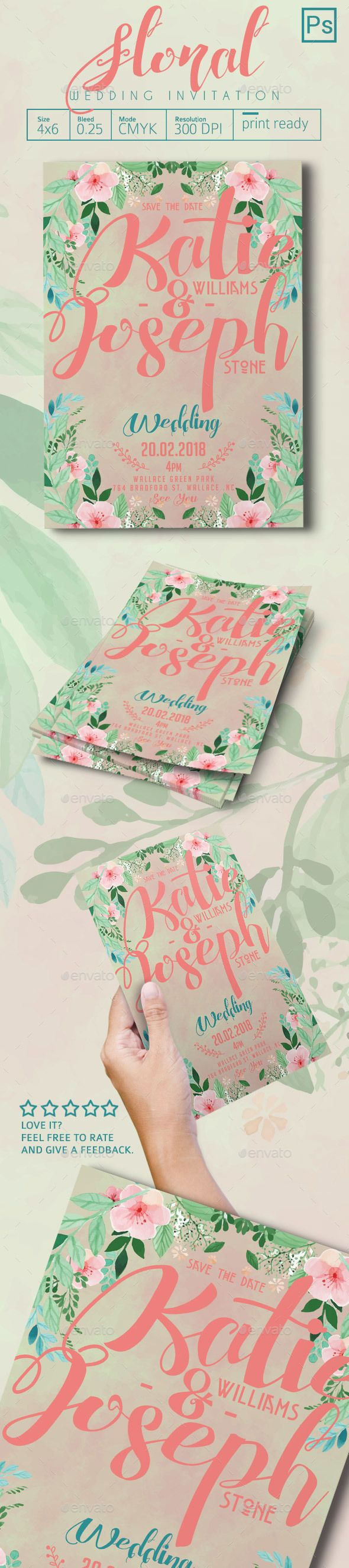 free wedding invitation psd%0A Floral Wedding Invitation
