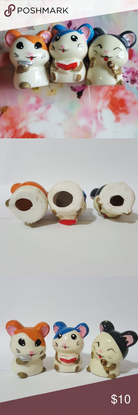 Rare Anime Hamtaro Hamster Animal Kawaii Cute Lot Selling all 3 together. PRICE FIRM unless bundle. NO TRADE. See wear in pics.  tags: ceramic glass smooth glossy sunflower seed book karaoke sing fun figure figurine display action toy statues mini display deco set antique vintage retro ancient old oriental traditional unique display hang hanging showcase show home house room living decorate deco sweet cute kawaii Japan Japanese otaku  collector collectible children kid school Other