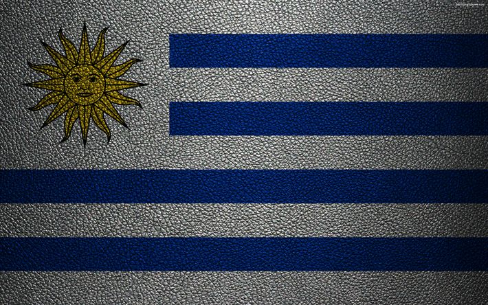 Download wallpapers Flag of Uruguay, 4k, leather texture, Uruguayan flag, South America, Uruguay