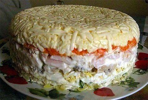 Ингредиенты:   - картофель 2 шт.  - яйцо 4 шт.  - шампиньоны (замаринованные) 16 шт  - ветчина 200 — 250 гр.  - морковь 2 шт.  - сырок п...