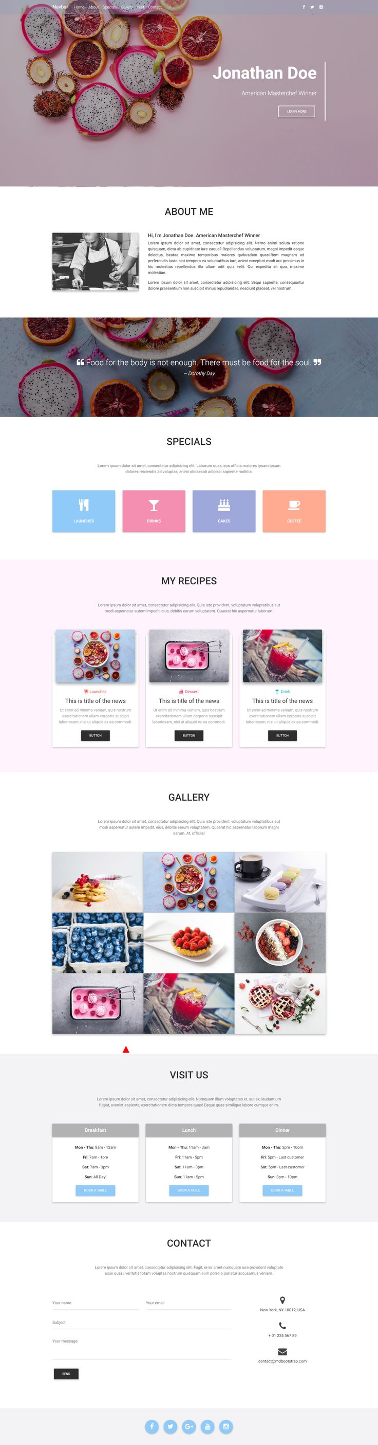 A Culinary Portfolio, must-have for restaurants that want to stand out, created with Material Design for Bootstrap