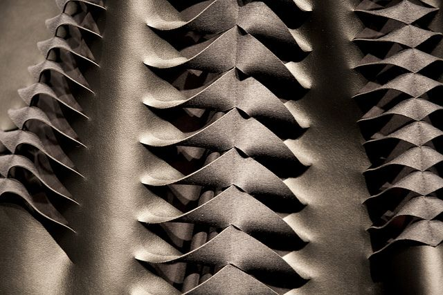 """Structural fabric manipulation for fashion with an artful use of cut, fold & repetition - innovative textiles; 3D surface design // Peter Morvin, """"Franz Madonna"""""""