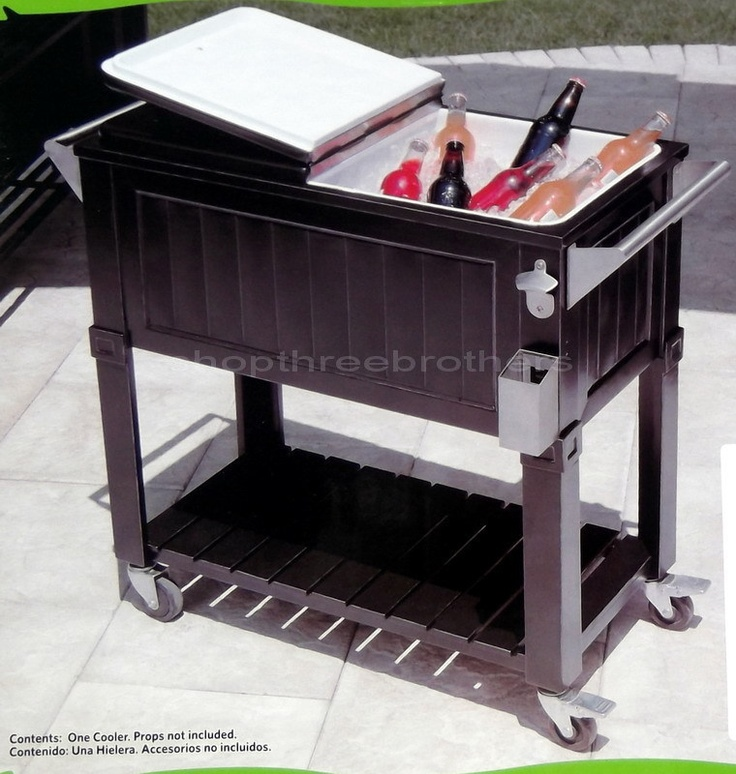black 80 quart party cooler rolling patio ice chest 2 sides outdoor