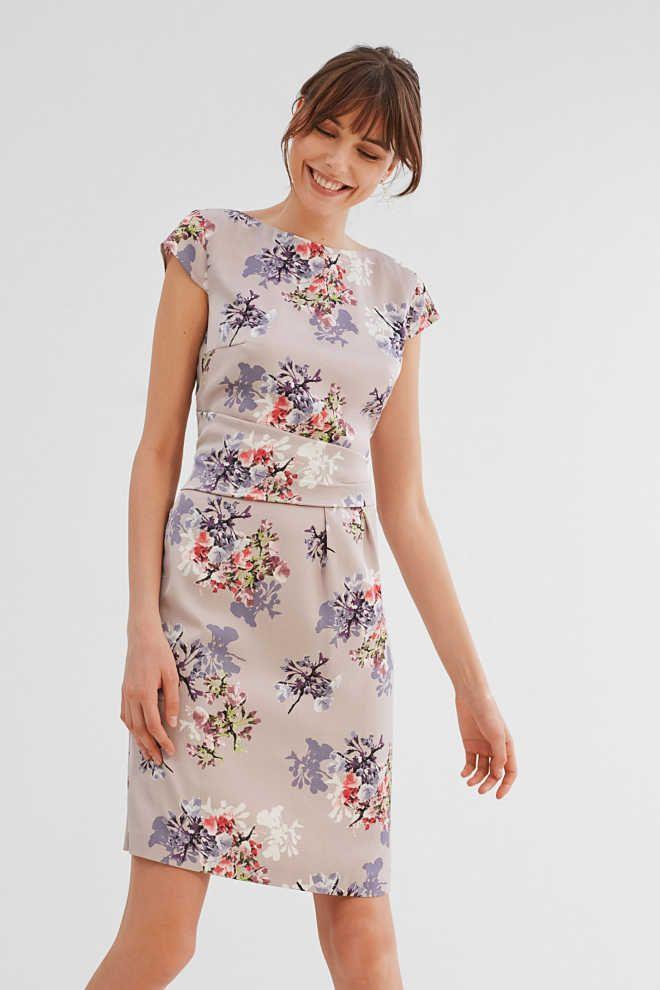 Esprit / Etui-Kleid aus leichtem, strukturiertem Satin ...