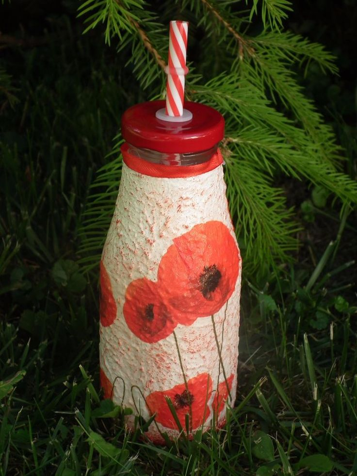 Unique decoupage handmade POPPY bottle with drinking straw, free delivery