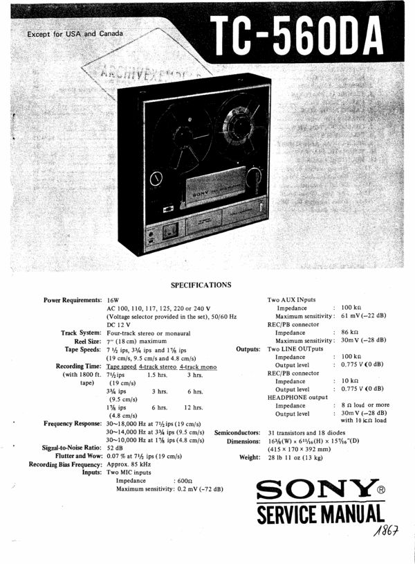 Sony TC-560-DA reel to reel tape recorder Service Manual 100 per cent satisfaction guaranteed  100 DOWNLOAD