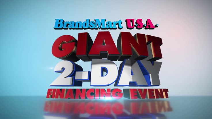It's BrandsMart USA's GIANT 2 DAY Financing Event, this weekend Only! Pay no interest for up to 36 Months on items throughout the store. It's better than layaway! Special financing on select TVs, Appliances, Audio, Furniture, Computers, Tablets, Cameras, Bedding, Home Security and much more! 24-month financing on Whirlpool, Maytag and KitchenAid appliances over $499. Or pay no interest for 36 months on select items from Sony, LG, Bose, Sonos and more.