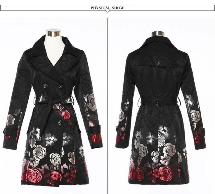 Пальто для Женщин Осень Долго Цветочным Принтом Черный Жаккардовые Пальто с Поясом Отложным Воротником Ветровка Тонкий Женщин пиджаки