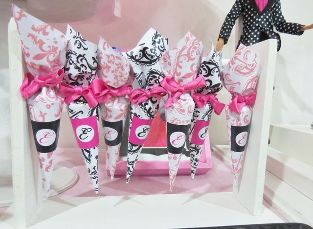 Favors at a Barbie in Paris Party.  See more party ideas at CatchMyParty.com. #barbieparispartyideas