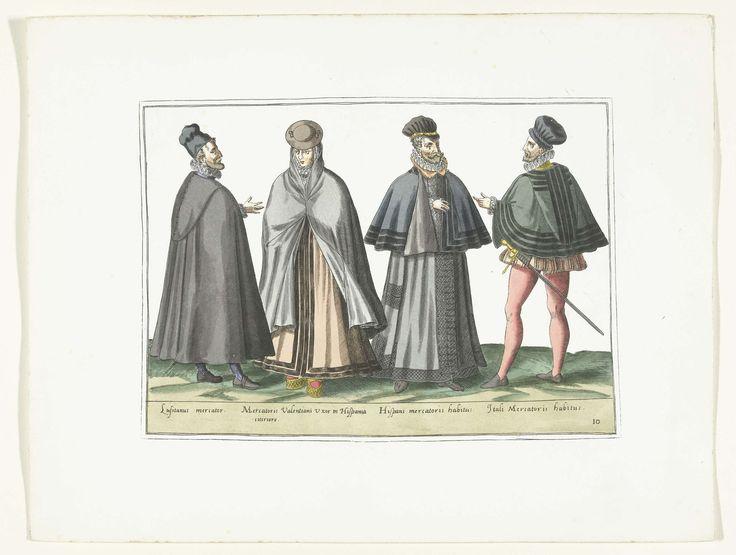 Anonymous   Drie mannen en een vrouw gekleed volgens de buitenlandse mode, ca. 1580, Anonymous, Abraham de Bruyn, G.A. van Trigt, 1872 - 1875   Drie mannen en een vrouw gekleed volgens de mode in Portugal, Spanje en Italië, ca. 1580. Onderdeel van de serie Habitus Variarum Gentium, kostuumprenten in facsimile, planche 10.