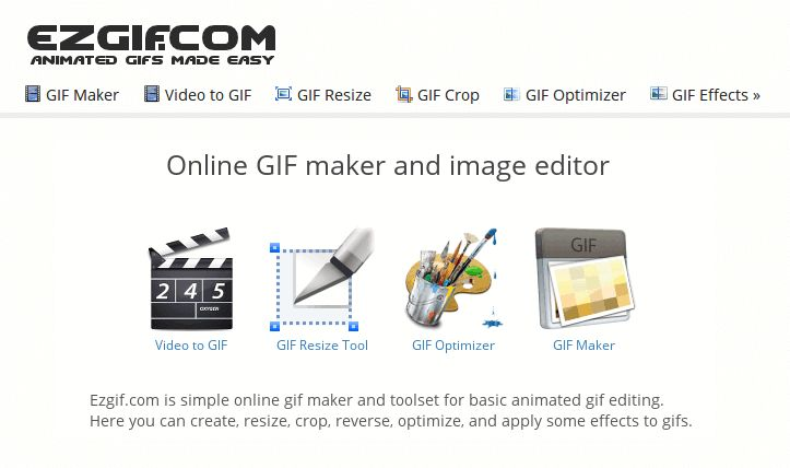 Easy to use online animated GIF maker and image editor. Upload and edit GIF images for free. Create, crop, resize, reverse, optimize and split animated gifs.