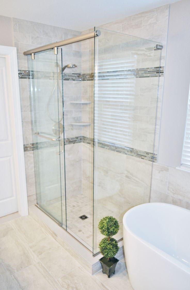 Calgary bathworks calgary bathroom renovations bathroom gallery - 3 Panel Hydroslide Shower Door With Brushed Nickel Hardware Fly Zone Spastone Tile In Grigio