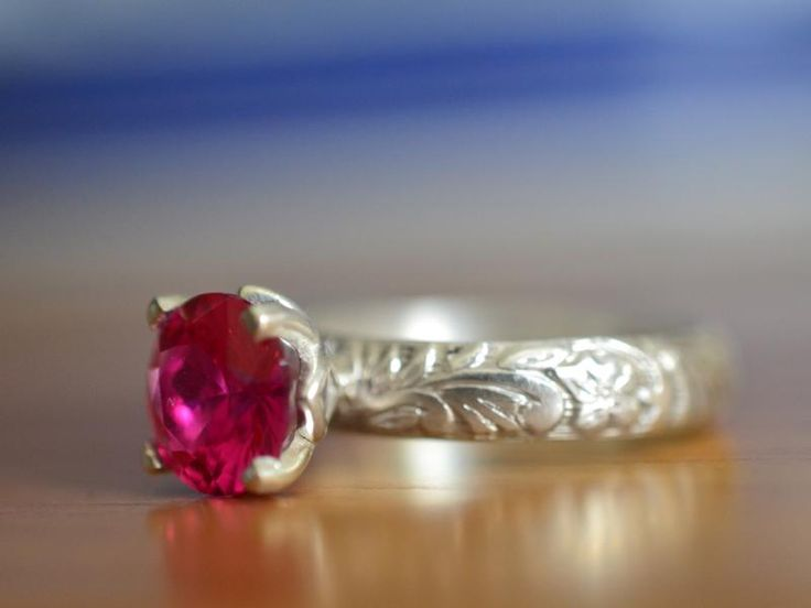 Ruby Engagement Ring, Personalised Floral Silver Jewellery