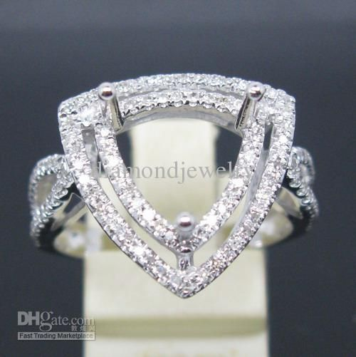 Beautiful TRILLION CUT MM SOLID Kt WHITE GOLD NATURAL DIAMOND Wedding SEMI MOUNT SETTING RING