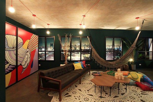 decoração sala com rede