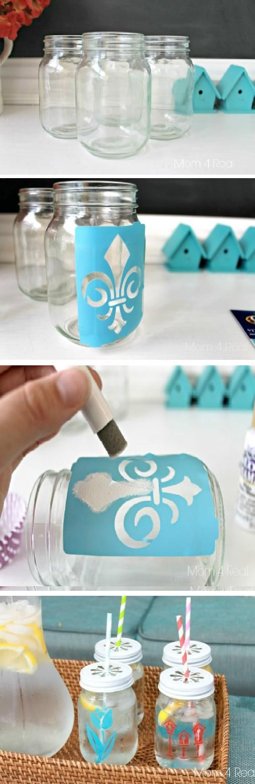 Stenciled Mason Jar Tumblers | diy craft TUTORIALS