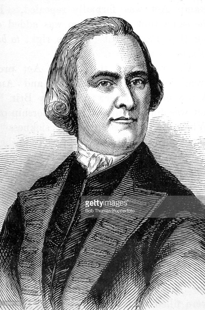 circa 1770's, This illustration is of Samuel Adams, (1722-1803) American revolutionary politician, who signed the Declaration of Independence in 1776