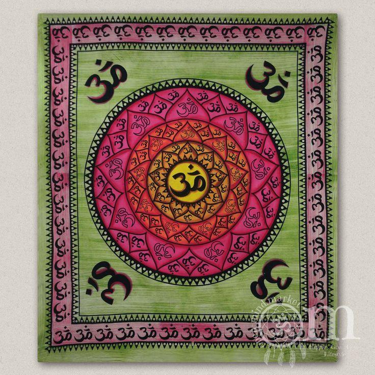 "Indisches Wandtuch oder Tagesdecke ""Mandala Om"" ca. 210 x 140 cm"