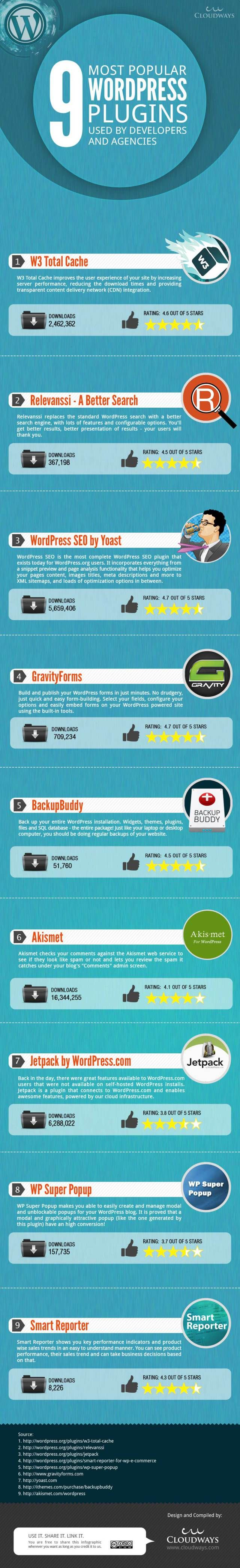 9 most popular WordPress plugins used by developers and agencies #infografia #infogaphic