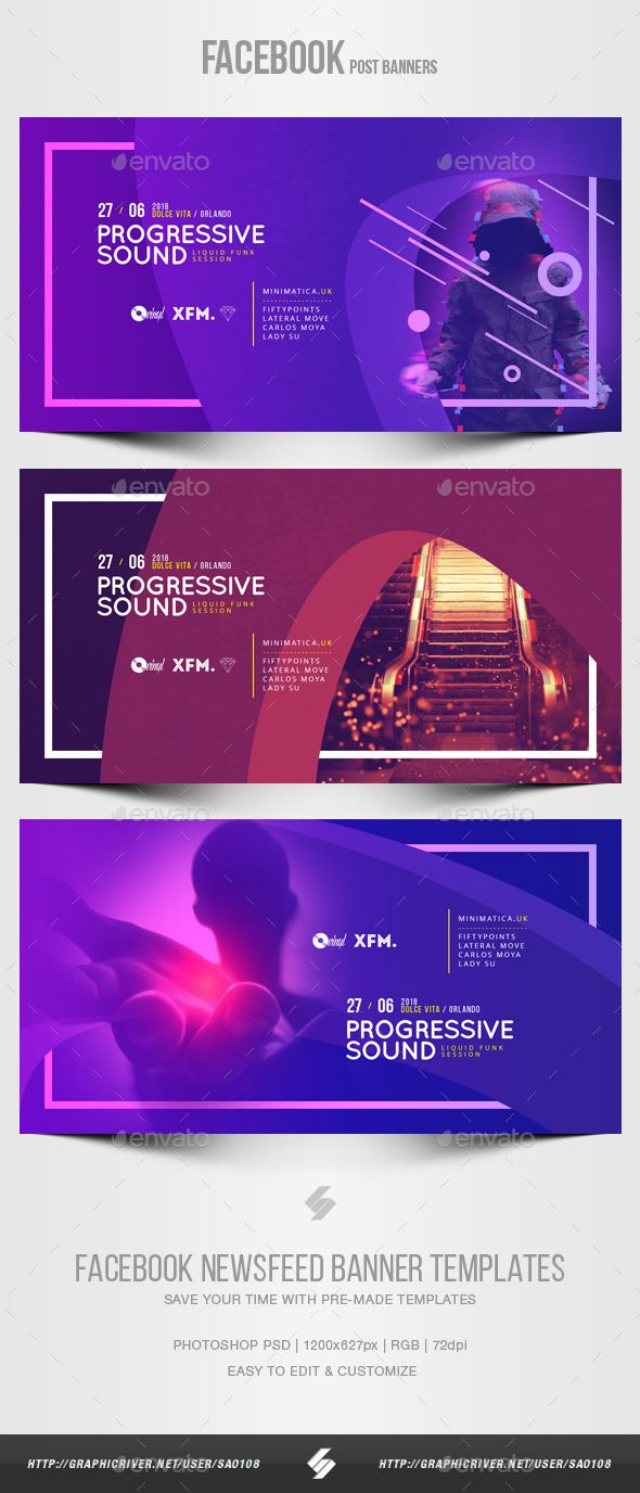 electronic music party vol 37 facebook post banner templates