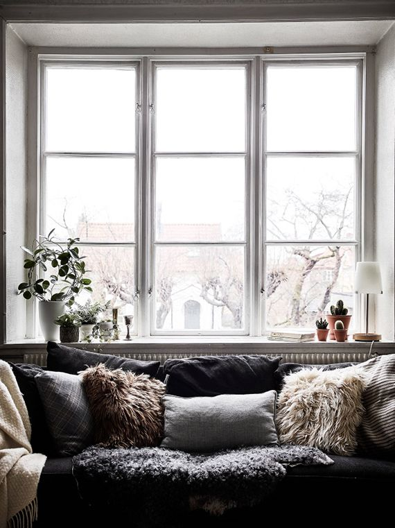 Sofa with fur throws