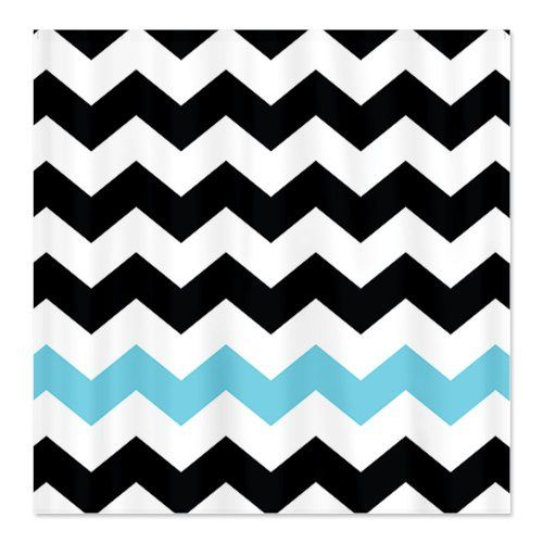 turquoise and black shower curtain. Black and White Chevron Shower Curtain with a stripe of blue  blackandwhitechevronshowercurtainglam 15 best images on Pinterest