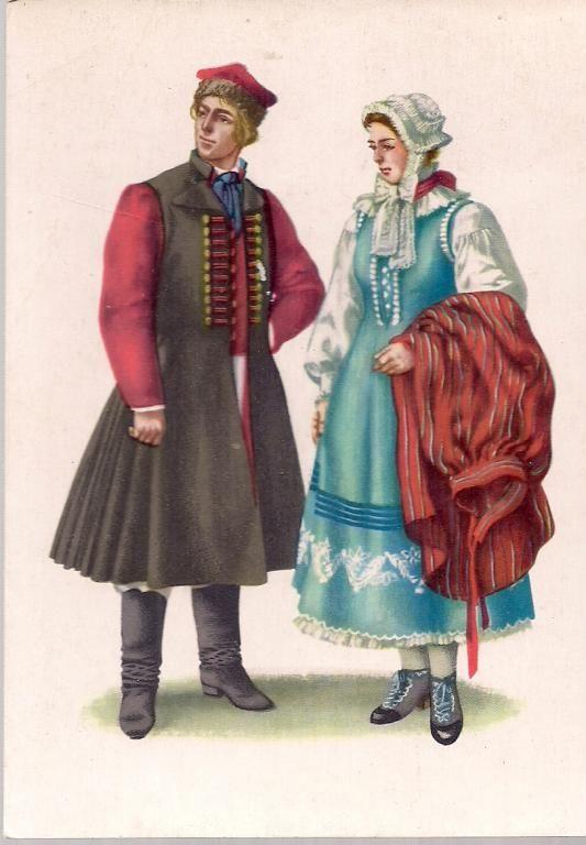 pocztówka STRÓJ SZAMOTULSKI folklor ORŁOWSKA RUCH