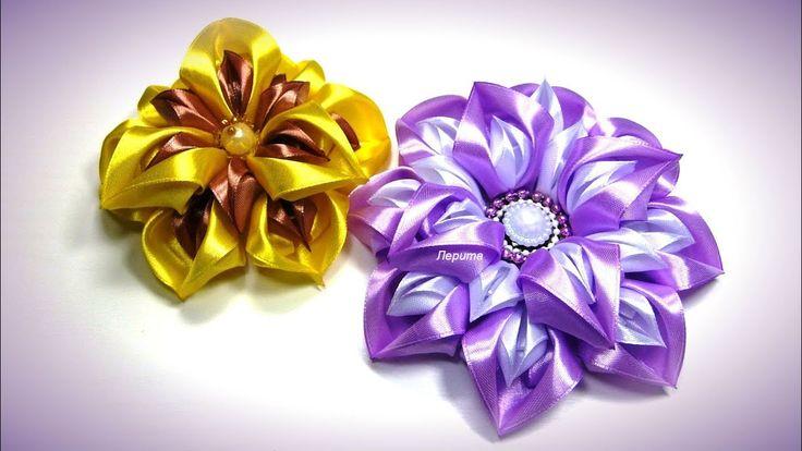 Цветы из лент, канзаши МК / DIY satin ribbon flower, kanzashi