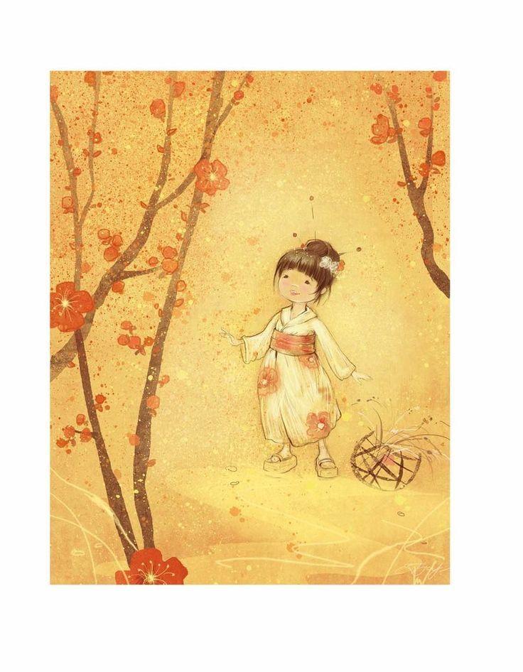 Фото Японская девочка и цветущая сакура, Екатерина Бабок