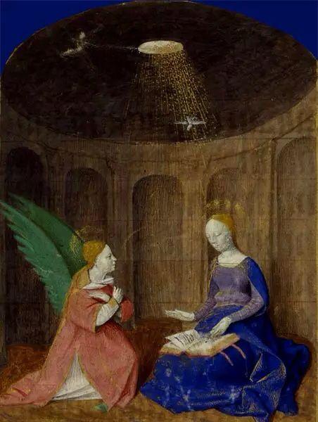 L'Annonciation Heures à l'usage d'Angers, enluminure du Maître de Jouvenel, Angers,  1450