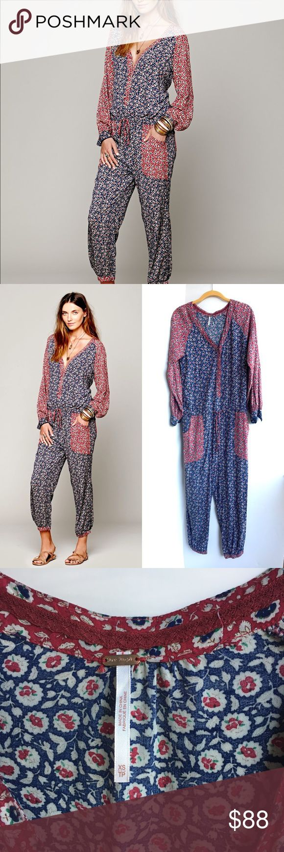Free People Leia Floral festival jumpsuit XS Free People Leia Floral festival jumpsuit XS. Buttons up the front and has a drawstring waist. So cute! :) Free People Other
