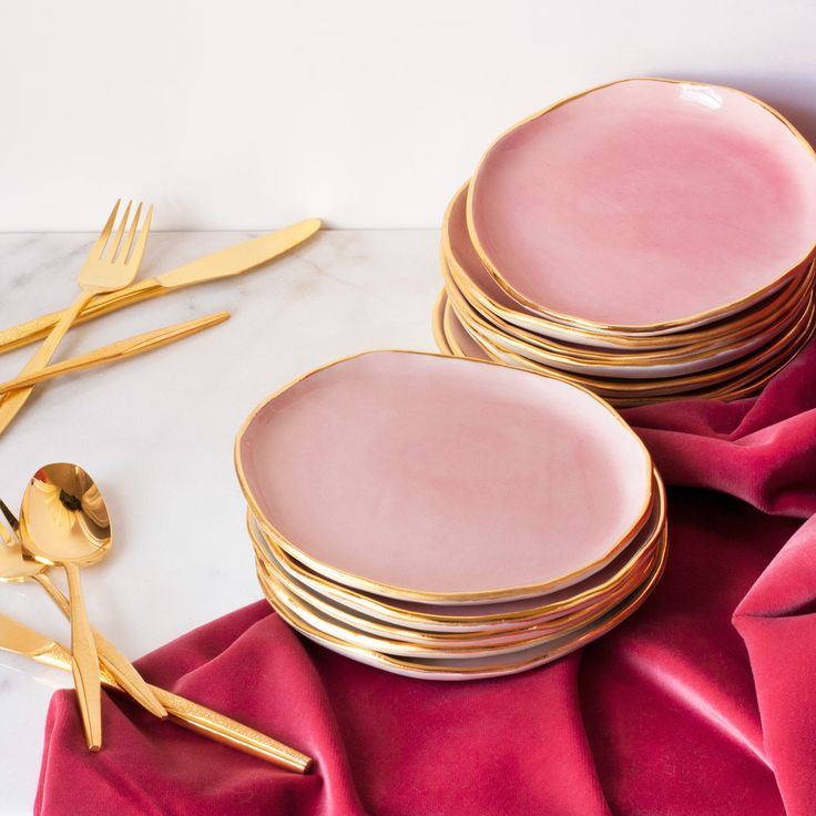 Dessert Plates in Rose and Gold (set of two) – Suite One Studio