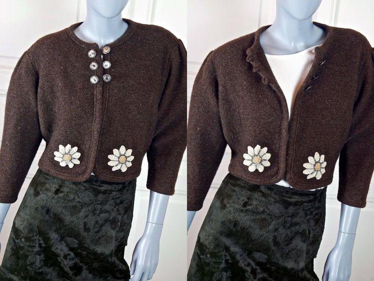 Bolero Sweater, Brown Virgin Wool Short-Waisted Cardigan Jumper w Flower Appliqués, Austrian Vintage Trachten Sweater: 10/12 US, 14/16 UK by YouLookAmazing on Etsy