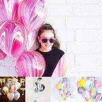 Wish   20pcs New Christmas Marble Agate Latex Balloon Marblezided Party Balloon Birthday Party Decor Latex Balloons for Baby Shower Kids Party  12inch