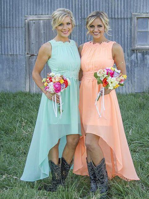 Short bridesmaid dress,high low bridesmaid dress,dress with cowboy boots,chiffon bridesmaid dress,cheap bridesmaid dressPD2185
