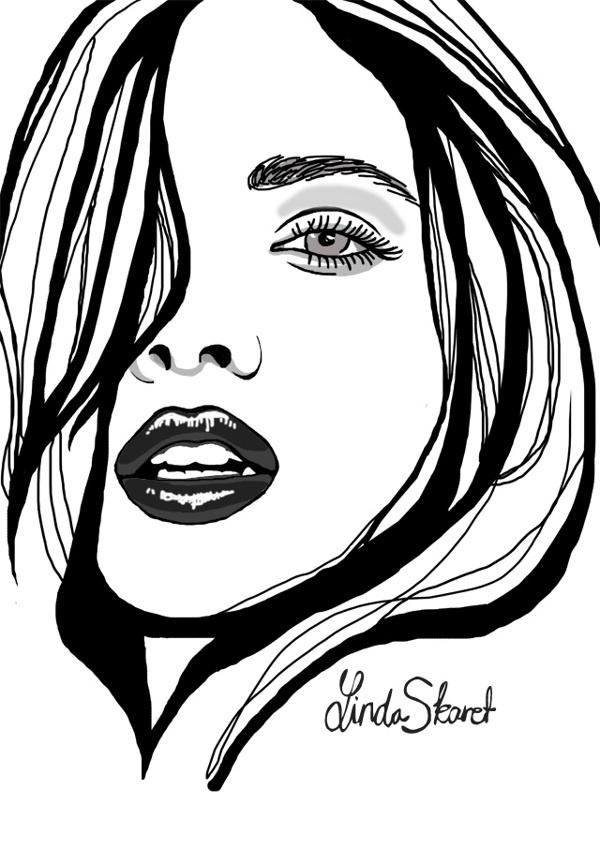 Fashion illustration by Linda Skaret, via Behance