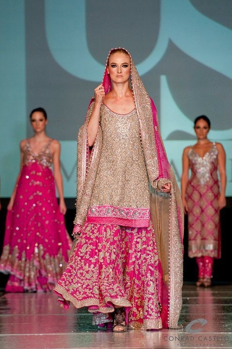 Shocking pink lengha pakistani bride gharara