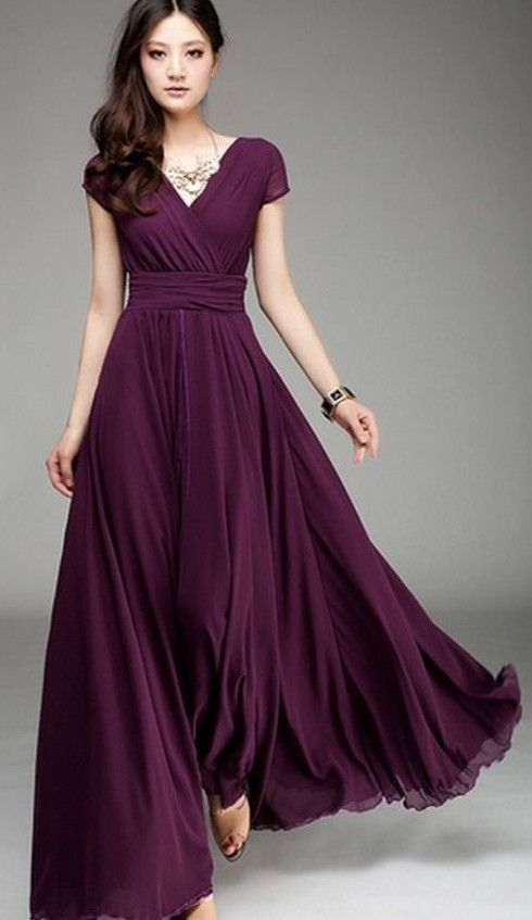 Neck long chiffon dress elegant plus size maxi dress slim waist short sleeve bohemian floor