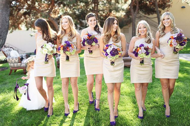 modern, neutral bridesmaid dresses with colorful bouquets (image by Troy Grover Photographers)