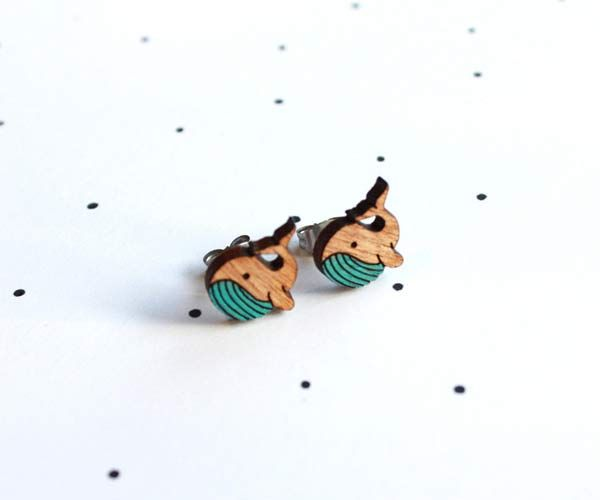 #Whale #earrings by @:: so little time :: so much to see::  These little earrings are made from locally sourced wood that is cut locally, hand painted and lovingly pieced together. All of our finding...
