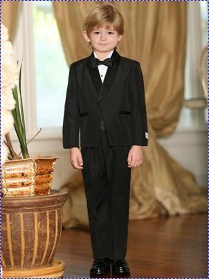 Tip Top Boys Tuxedo Set 4002B- Little Boy's Tuxedo with no tail, round shawl satin collar. Five piece set includes jacket, pants, shirt, bow tie and cummerbund.