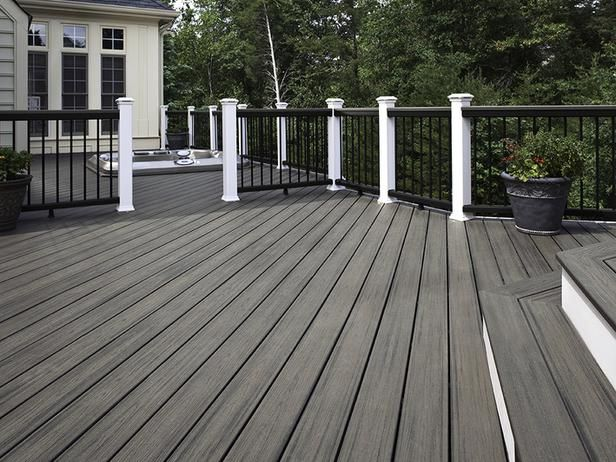 Black and White and Gray All Over A sunken hot tub blends perfectly against the gray decking boards.