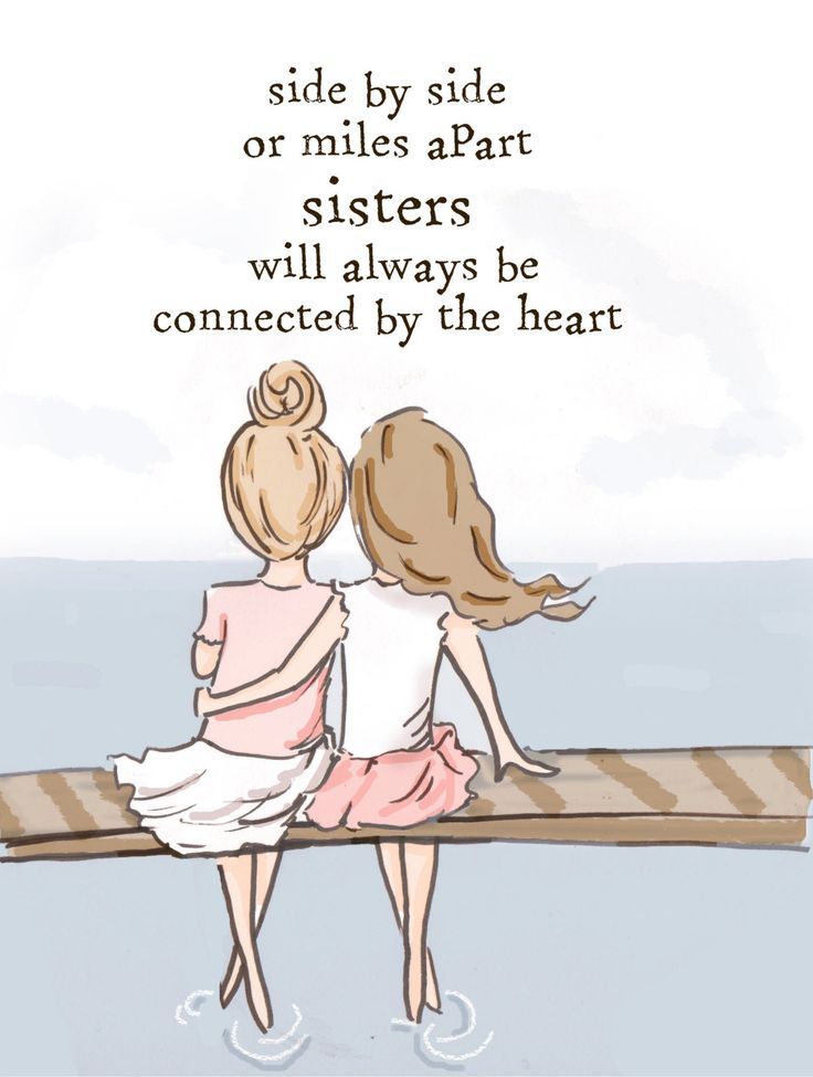 Side by side or miles apart, sisters will always be connected by heart. (Sisters Wall Art)