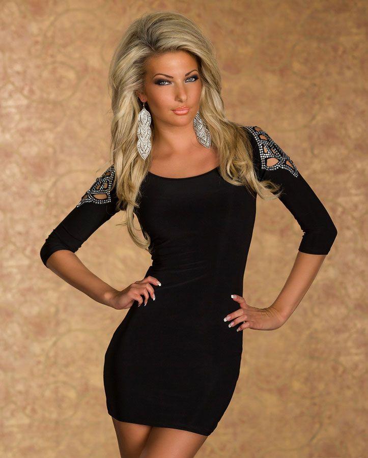 robe courte moulante noir avec decoration strass sur les epaules par. Black Bedroom Furniture Sets. Home Design Ideas