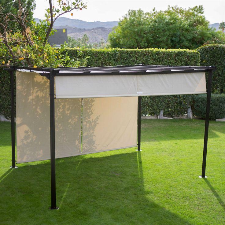 10 Ft X 12 Ft Dark Brown Steel Metal Pergola Gazebo W/Retractable Ivory  Canopy
