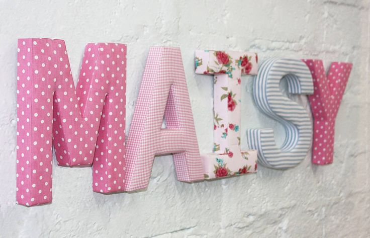 Create your child's name as a piece of wall art with these gorgeous fabric letters. $21.72